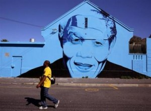 Street Art image of Nelson Mandela in Woodstock, Cape Town