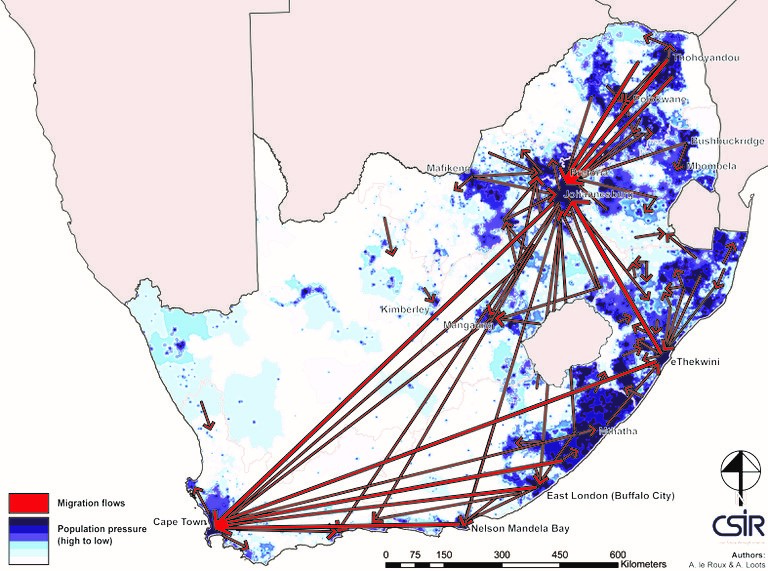 Inward Migration in South Africa Map